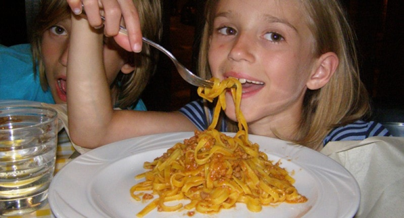 child eating pasta itlay