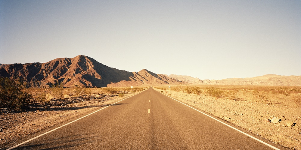 Open road, desert, California road trip