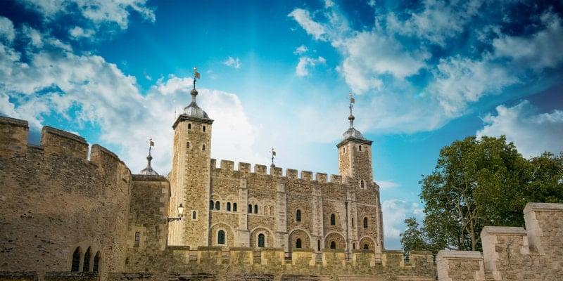 blue sky with clouds over the tower of london