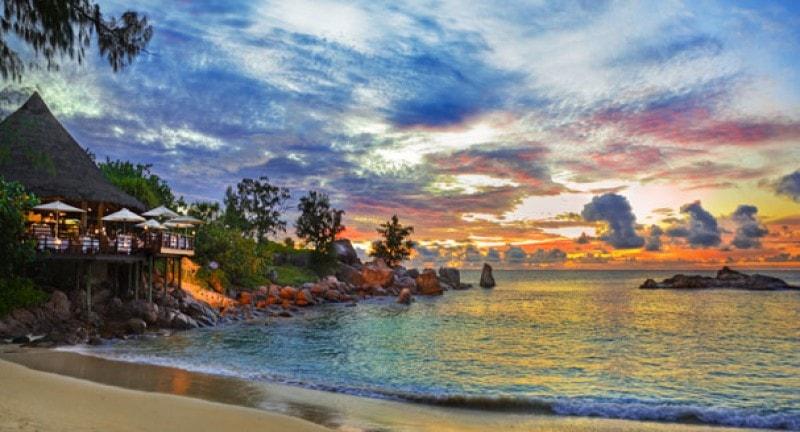 Beach sunset in the Seychelles - a perfect winter sun destination
