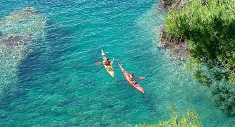 Short-haul adventure holidays, aerial view of two kayaks in water in Croatia