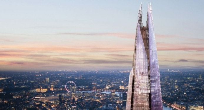 a view of london's skyline with the shard in the foreground