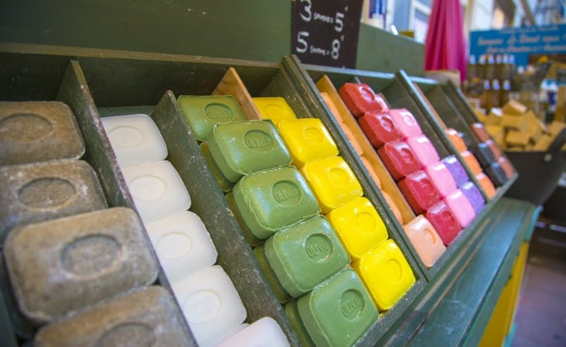 A selection of soap at a French market