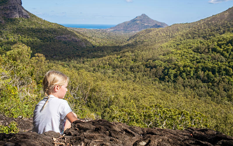 abi campbell daughter admiring mountain views