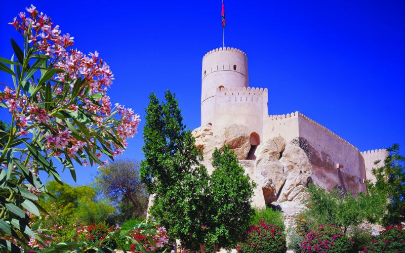 nakhal fort in the hajar mountains, oman