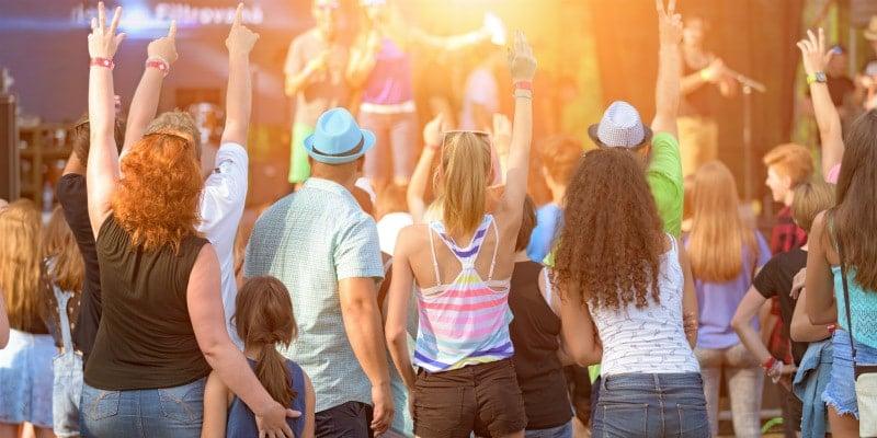 family having fun at festival