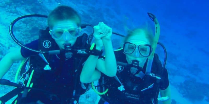 mariella-frostrup-and-son-scuba-diving