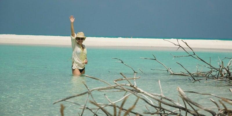 mariella-frostrup-stands-in-sea-in-maldives
