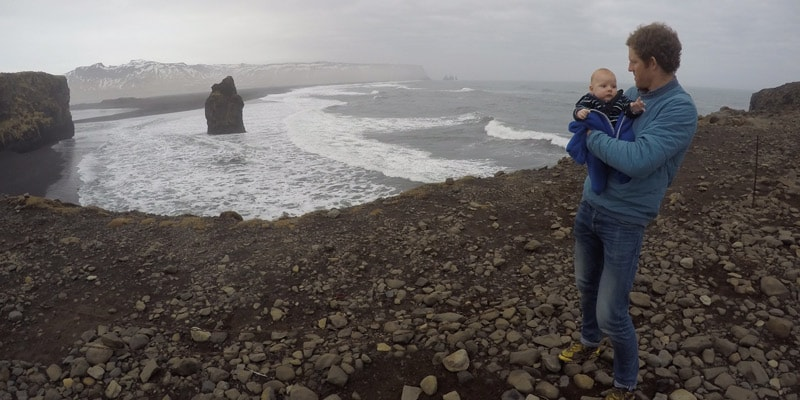 james-gough-and-baby-wilfred-iceland-view