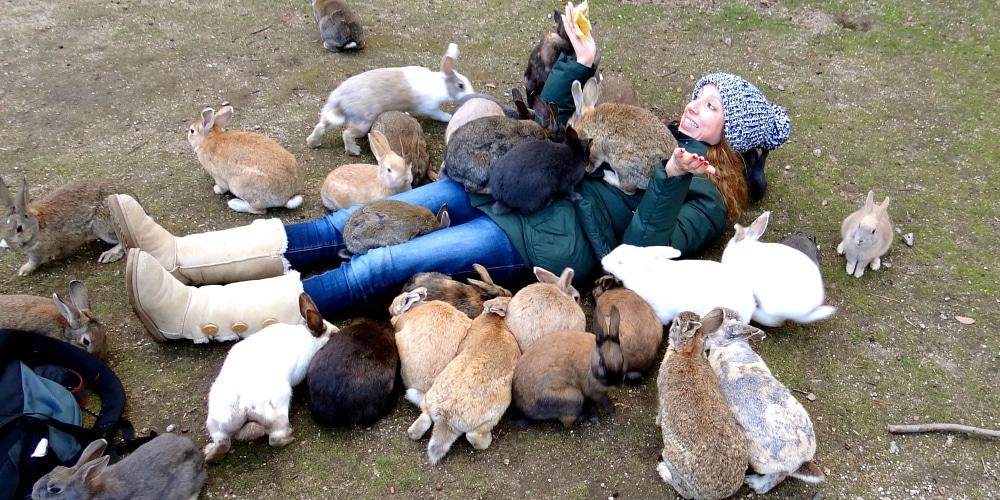Rabbits swarm woman on rabbit island japan