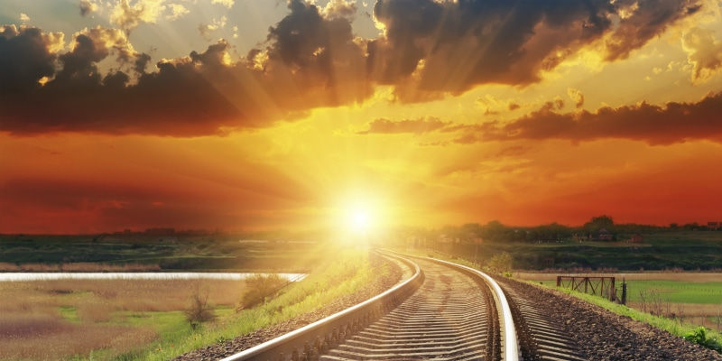 Rail track in sunset - mycola