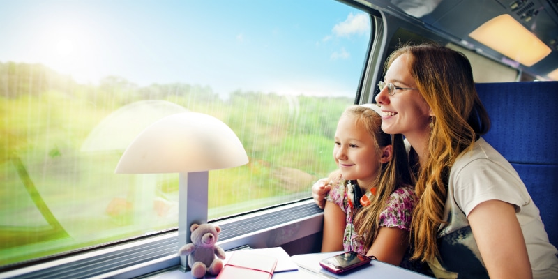 mother and daughter on train france