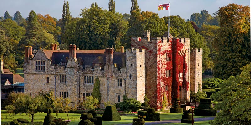 Hever Castle, Kent with topiary bushes
