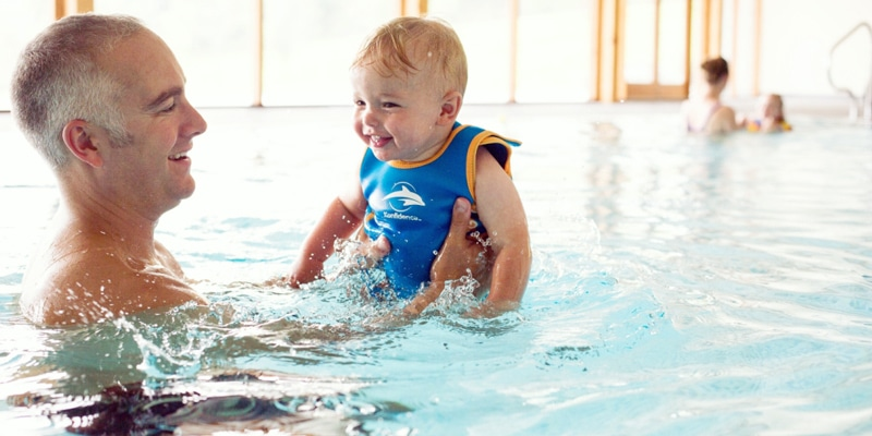 Baby with dad in water