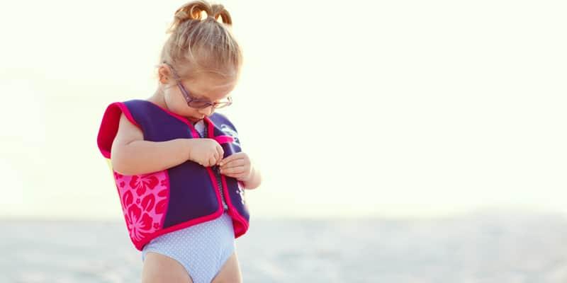 Swim jacket on girl