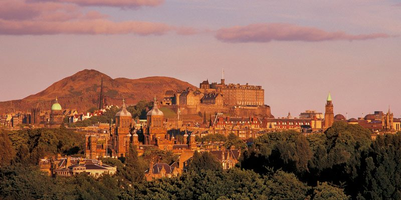 View of Edinburgh Castle with Arthurs Seat behind
