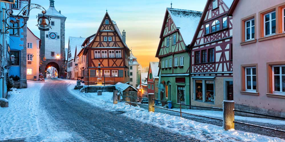 Rothenburg Bavaria Germany under snow at sunset in winter