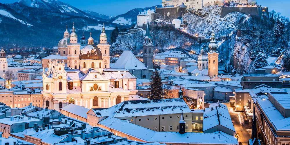 Salzburg Baroque city centre covered in snow during winter