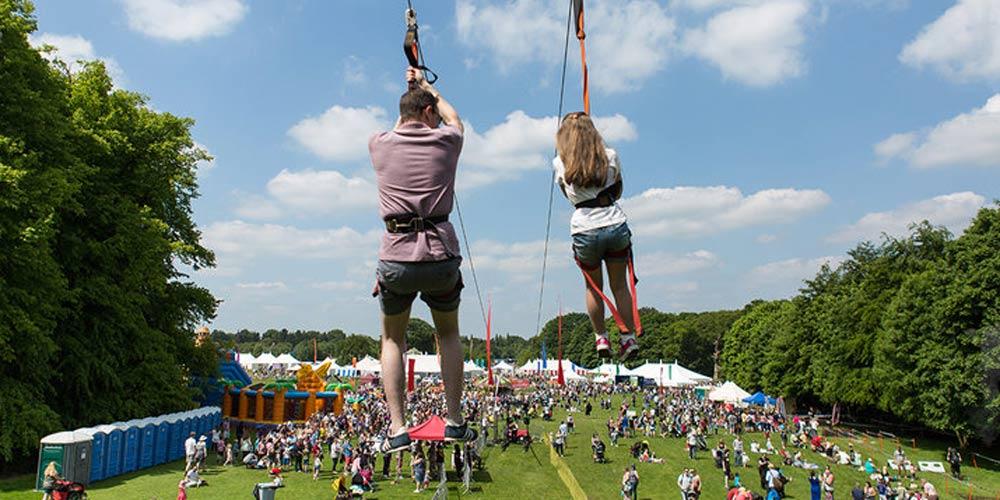 ziplining at the festival - family-friendly festivals in 2018