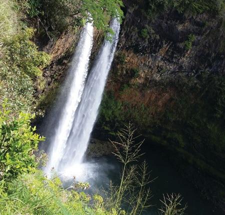 waterfall - island of Oahu in Hawaii