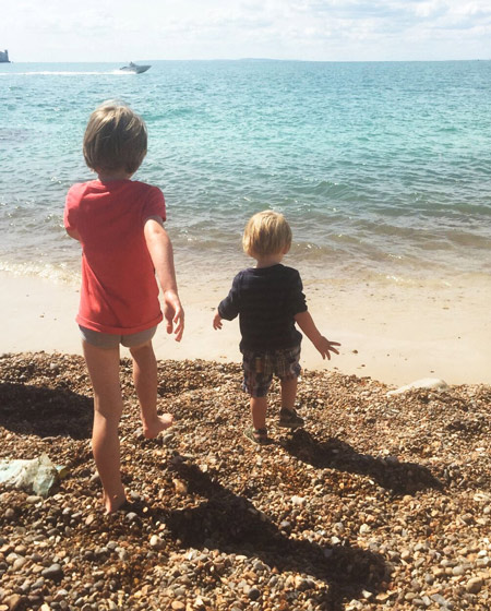 two children at the beach isle of wight