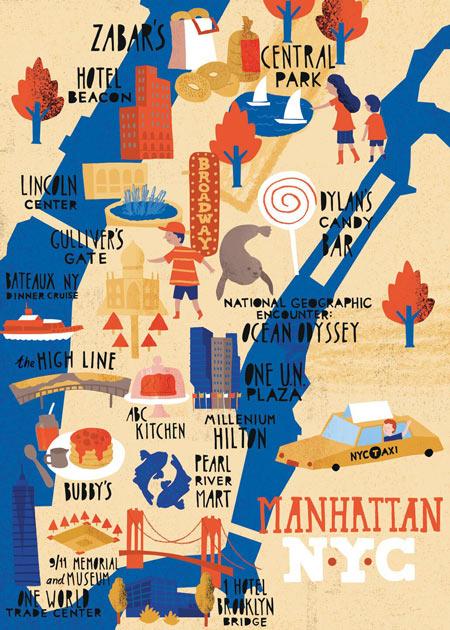 Illustrated map of Manhattan 72 hours in manhattan