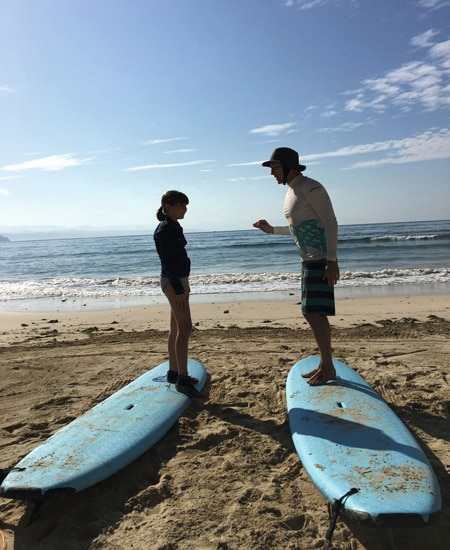 surfing lessons on sand - Bali's alternative Green School