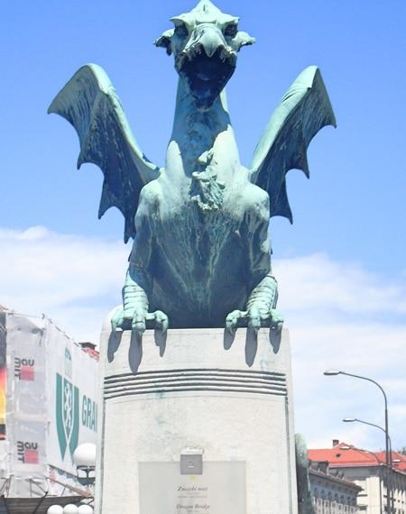 Copper dragon statue Ljubljana Slovenia