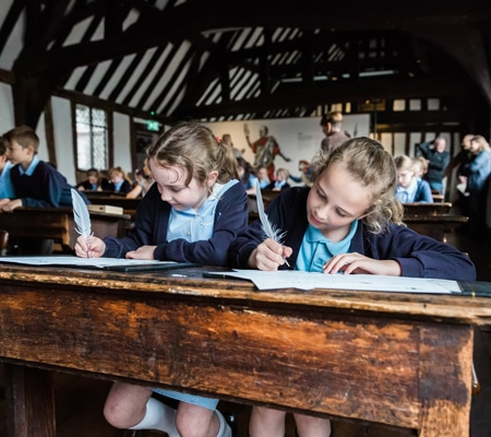 Children writing with plumes William Shakespeare