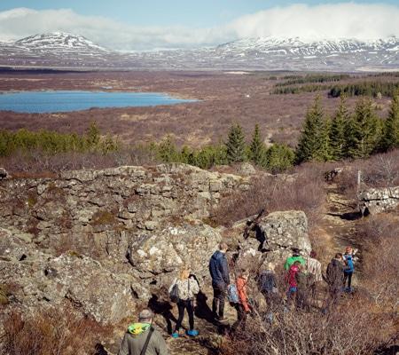 family-hiking-Iceland