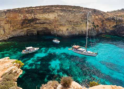 The crystal clear waters of Comino