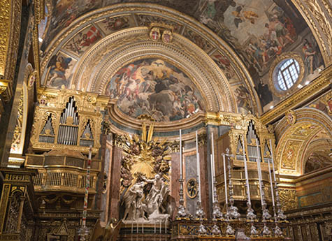 Valetta: St Johns cathedral in Valetta, Malta. Built in honour of saint John the Baptist between 1572 and 1577