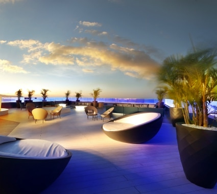 Outdoor terrace at Hard Rock Hotel Tenerife