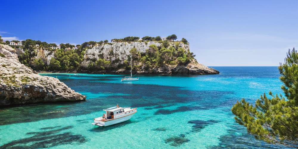 Best family destinations in Spain, bay in Menorca