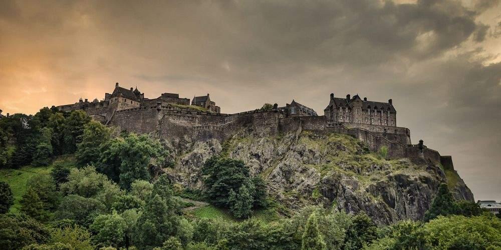 Edinburgh Castle overlooking Edinburgh on stormy day