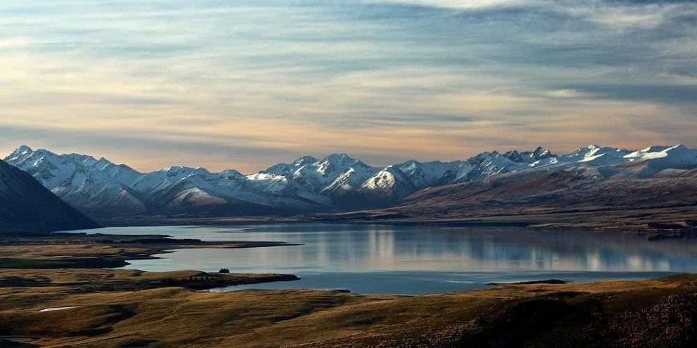 Lake Tekapo South Island New Zealand snow covered peaks in winter