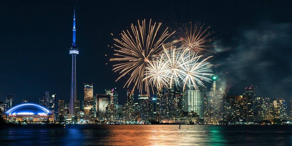 Toronto most Instagrammed city in Canada at night with fireworks