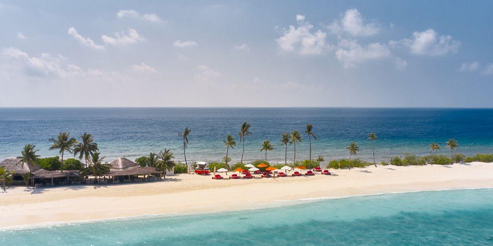 Finolhu Baa Atoll Maldives family holidays sandbar island with sun umbrellas