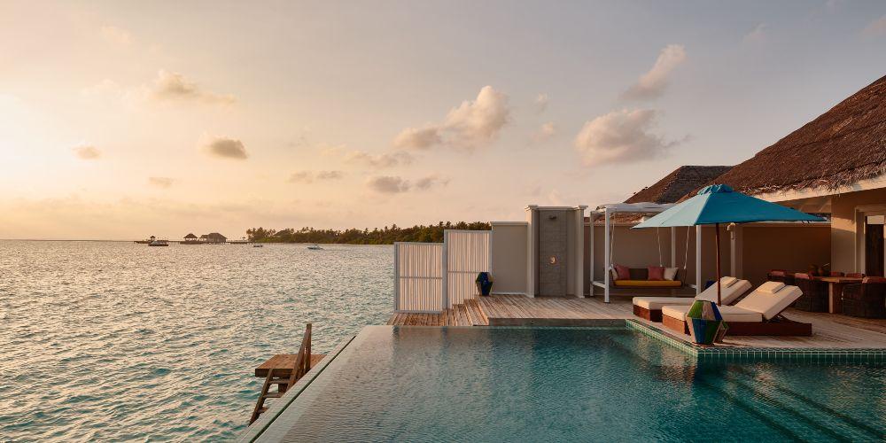 Overwater family villas on the Indian Ocean