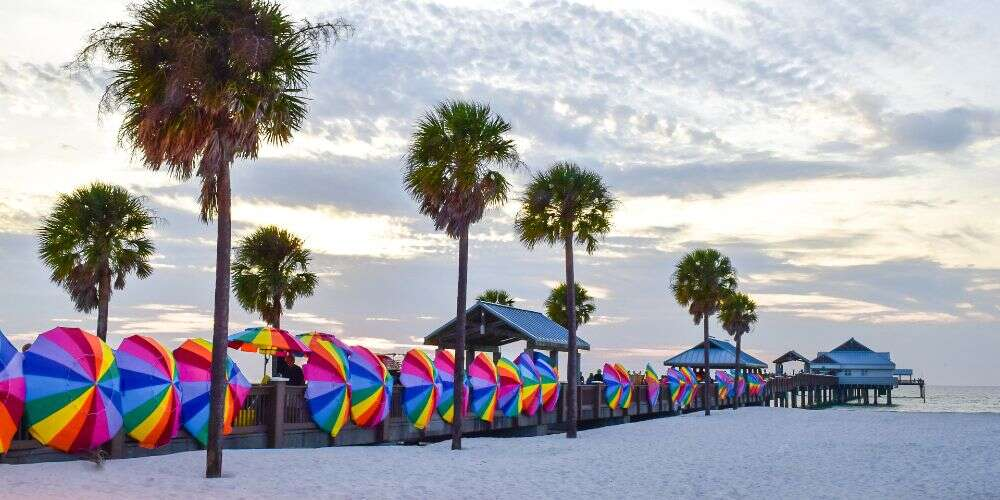 Pier 60 at Sunset with Umbrellas Clearwater Beach St Pete and Clearwater