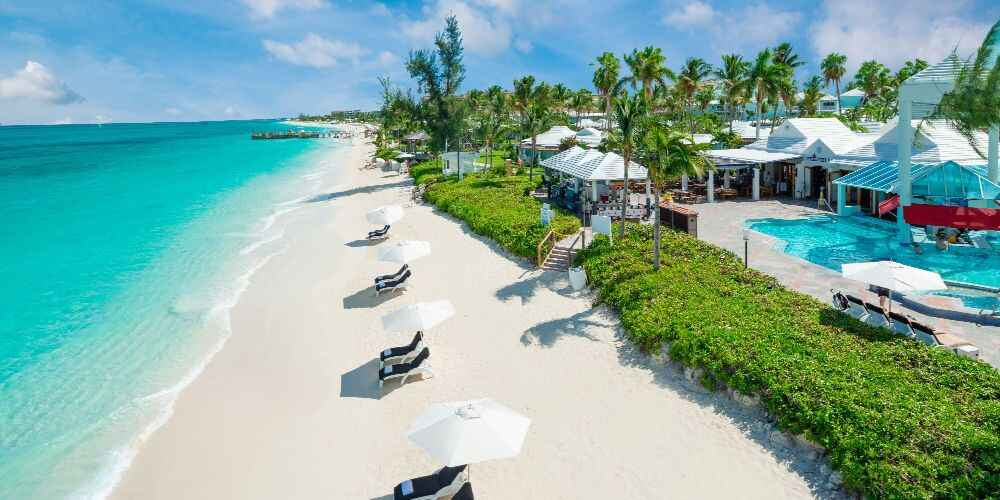 Treasure Beach sun loungers at Beaches all inclusive family resorts in the Caribbean