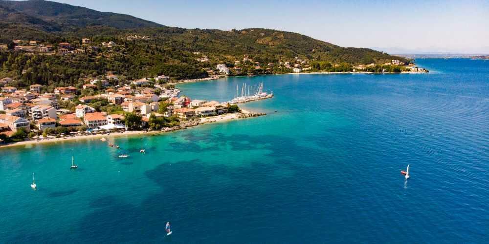 family sailing holidays at Nikiana Beach Club view of beach club on Lefkada Island